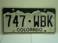 COLORADO License Plate 747 WBK