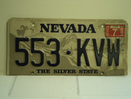 2001 NEVADA Silver State License Plate 553 KVW