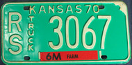 1970 Russell Co Kansas RS 3067 License Plate Truck
