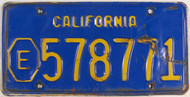 California E Exempt 578771 License Plate