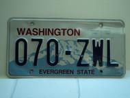 Washington Evergreen State License Plate 070 ZWL