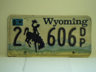 1998 WYOMING Bucking Bronco License Plate 2 606 DP