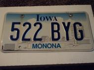 IOWA License Plate 522 BYG
