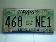 2003 MISSISSIPPI Magnolia License Plate 468 NE1