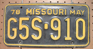 1978 May Missouri G5S-910 License Plate DMV Clear