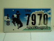 WYOMING Bucking Bronco Devils Tower Truck License Plate 18 7970