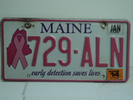 2014 MAINE Pink Ribbon Cancer Early Detection License Plate 729 ALN