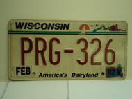 2002 WISCONSIN America's Dairyland License Plate PRG 326