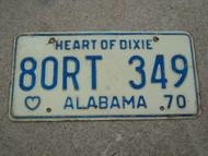 1970 ALABAMA Heart Of Dixie License Plate 80RT 349