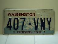 Washington Evergreen State License Plate 407 VWY