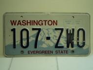 WASHINGTON Evergreen State License Plate 107 ZW0