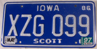 1997 May Iowa Scott Co License Plate XZG 099