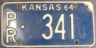 1964 Kansas PR-341 License Plate Pratt Co