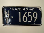 1964 KANSAS License Plate NT 1659