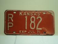 1974 KANSAS License Plate RP 182