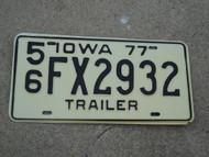 1977 IOWA Trailer License Plate 56 FX2932