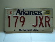 2008 ARKANSAS Natural State License Plate 179 JXR