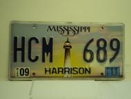2011 MISSISSIPPI Lighthouse License Plate HCM 689