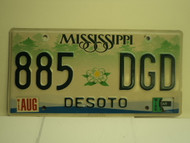 MISSISSIPPI License Plate 885 DGD