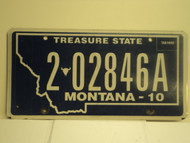 2010 MONTANA Treasure State License Plate 202846A