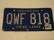 Expired MICHIGAN  Great Lakes License Plate QWF 818