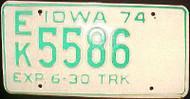 1974 Iowa EK 5586 Truck License Plate