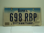 IOWA License Plate 698 RBP