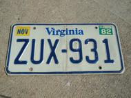1982 VIRGINIA License Plate ZUX 931
