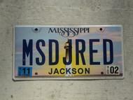 2011 MISSISSIPI Vanity License Plate MSDJRED