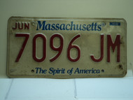 MASSACHUSETTS Spirit of America License Plate 7096 JM