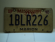 1992 MISSISSIPPI License Plate 1BLR226
