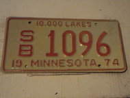 1974 MINNESOTA 10,000 Lakes License Plate SB 1096