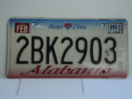 1999 ALABAMA Heart of Dixie License Plate 2BK2903