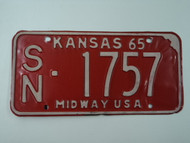 1965 KANSAS Midway USA License Plate SN 1757