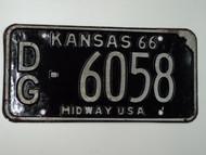 1966 KANSAS Midway USA License Plate DG 6058