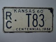 1960 KANSAS 1961 Centennial Truck License Plate RC T83
