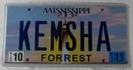 2011 Aug Mississippi Vanity License Plate KEMSHA