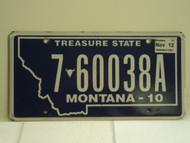 2010 2012 MONTANA Treasure State License Plate 7 60038A