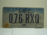 2007 IOWA License Plate 076 RXQ