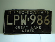 1979 MICHIGAN Great Lakes State License Plate LPW 986