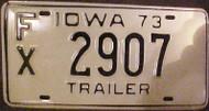 1973 Iowa FX 2907 Trailer License Plate