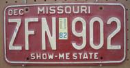 1982 Dec Missouri ZFN-902 License Plate DMV Clear YOM