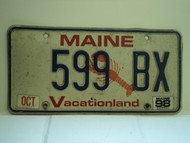 1998 MAINE Lobster Vacationland License Plate 599 BX