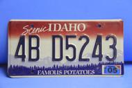 2005 IDAHO Scenic Famous Potatoes License Plate 4B D5243