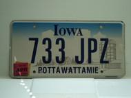 2008 IOWA License Plate 733 JPZ