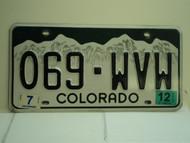 2012 COLORADO License Plate 069 WVW