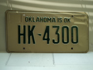 1981 OKLAHOMA is OK License Plate HK 4300