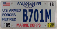 2009 May Mississippi Marine Corps License Plate