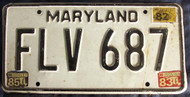1985 Maryland FLV 687 License Plate