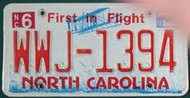2008 Jun North Carolina WWJ-1394 License Plate